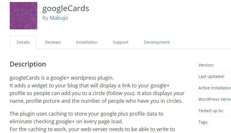 googlecards wordpress link