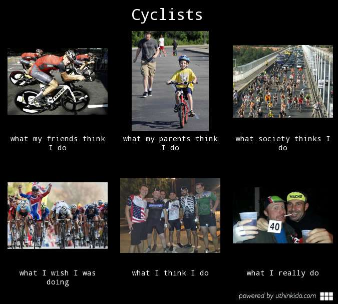 Cyclists, what they think I do.